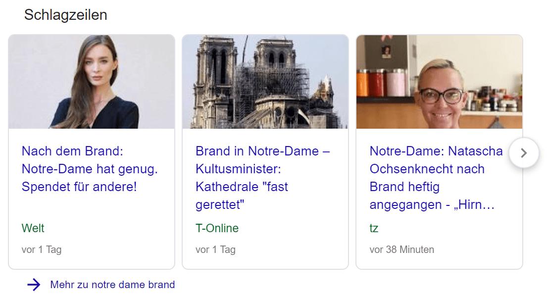 Darstellung von Blogartikeln in der mobilen Suche unter Schlagzeilen