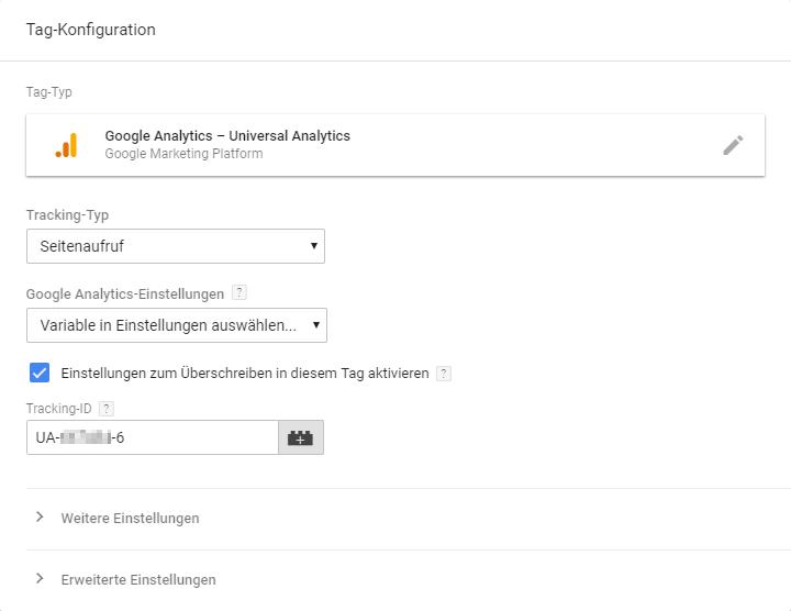 Google Analytics Tracking-ID einfügen