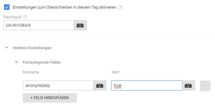 Auch beim Google Tag Manager müsst ihr anonymizeIP verwenden