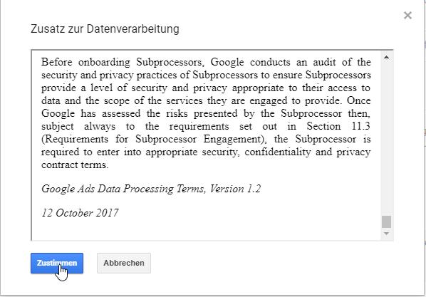Zusatz zur Datenverarbeitung