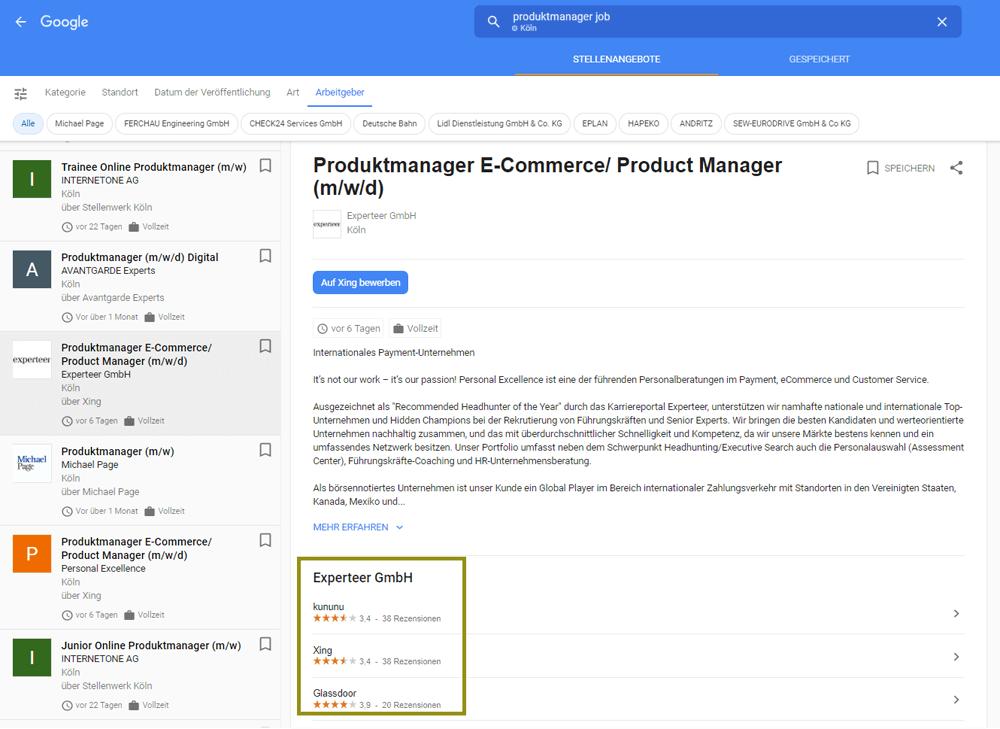 RichSnippet in den Google Jobs mit Arbeitgeber Bewertung in der Stellenausschreibung