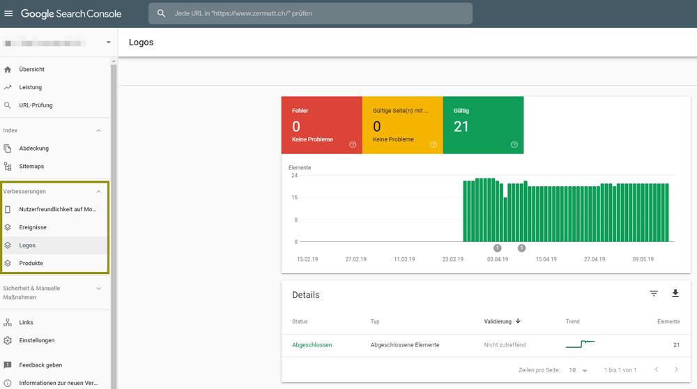 Strukturierte Daten mit der Google Search Console prüfen