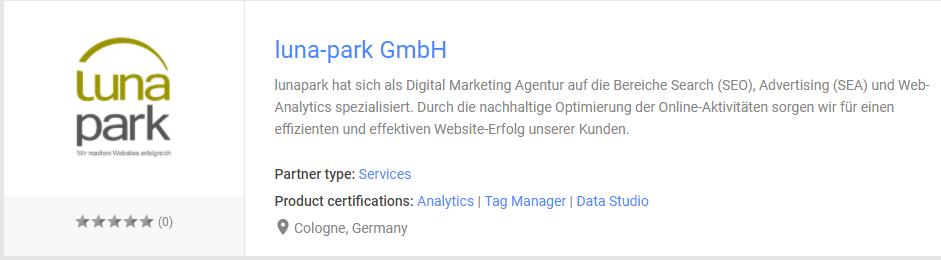 lunapark ist Google Data Studio Zertifizierter Partner