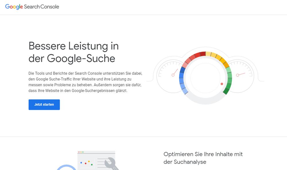 Startseite der Google Search Console