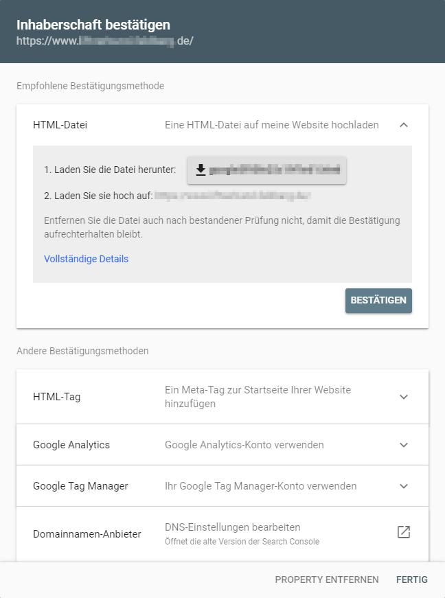 Inhaberschaft bestätigen über HTML-Datei