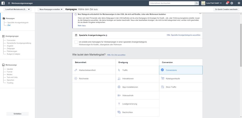 Ziele in Facebook festlegen