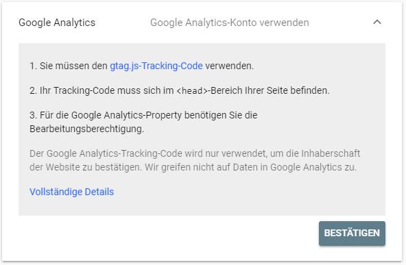 Bestätigung der Inhaberschaft über den Google Analytics Code