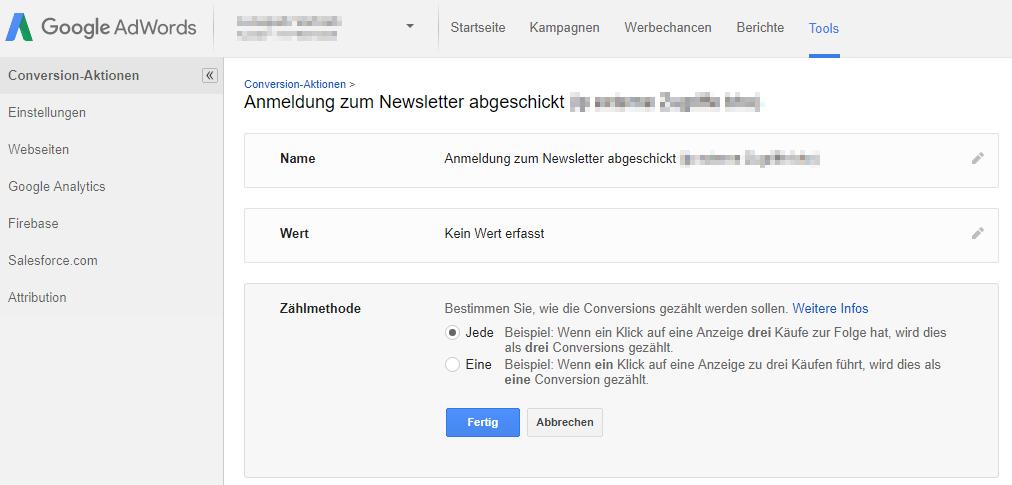 Unterschiedliche Zählung der Conversions in Google AdWords