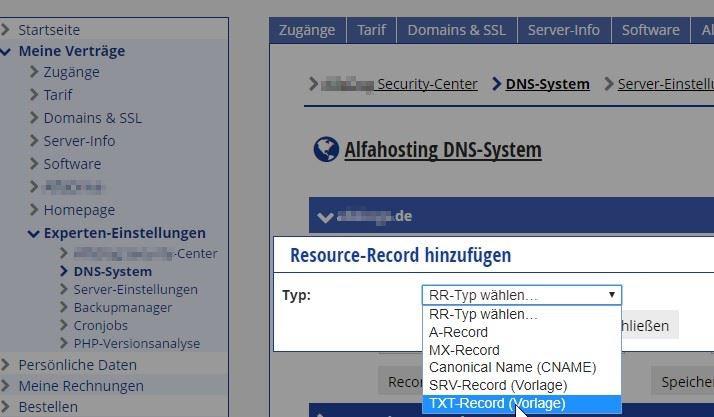 Beispielkonto mit Zugang zu den Einstellungen des DNS-Systems