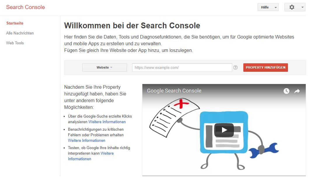 Legt für eure Website eine Property in der Google Search Console an