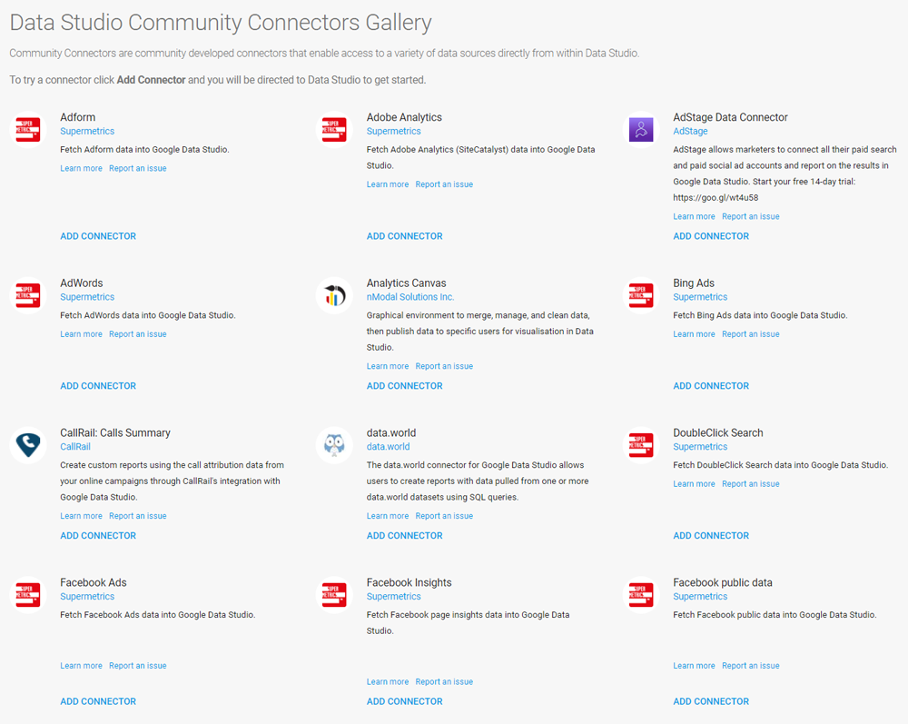 In der Data Studio Community Connectors Gallery gibt es bereits viele fertige Skripte, die kostenfrei genutzt werden können.