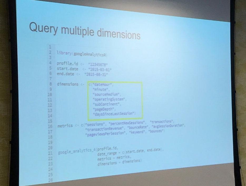 Dabei können mehrere Dimensionen gleichzeitig abgefragt (maximal möglich 7), damit eine Session basierte Datenauflistung möglich wird bzw. einzelne User-Sessions zu betrachten sind