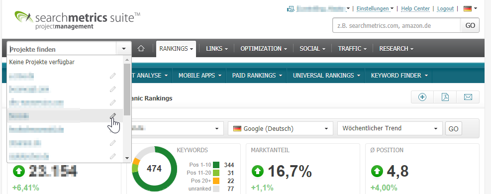 In den Projekteinstellungen kann Google Analytics integriert werden