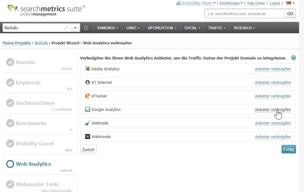 """Mit Klick auf """"Anbieter verknüpfen"""" kann Google Analytics in Searchmetrics integriert werden"""