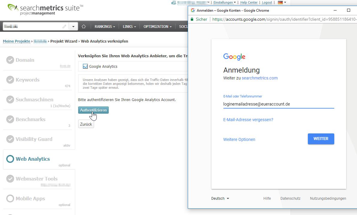 """Mit Klick auf """"Authentifizieren"""" öffnet sich ein neues Browserfenster, wo ihr eure Login-Daten zu eurem Google Analytics Account eingeben müsst. Wichtig ist hier, dass ihr euch in den richtigen Account einloggt, sodass ihr später die richtige Datenansicht auswählen könnt"""