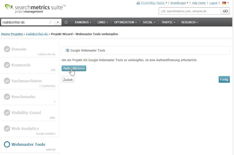 Google Search Console mit Searchmetrics verknüpfen.
