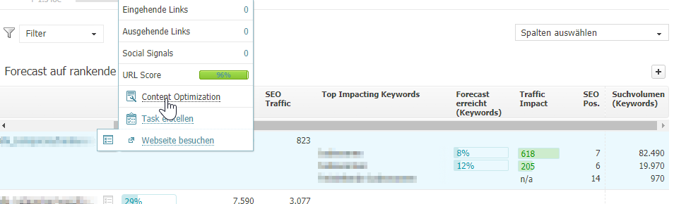 Nach Indentifizierung der potenziale, kann die optimierung direkt über die Content Optimization angegangen werden