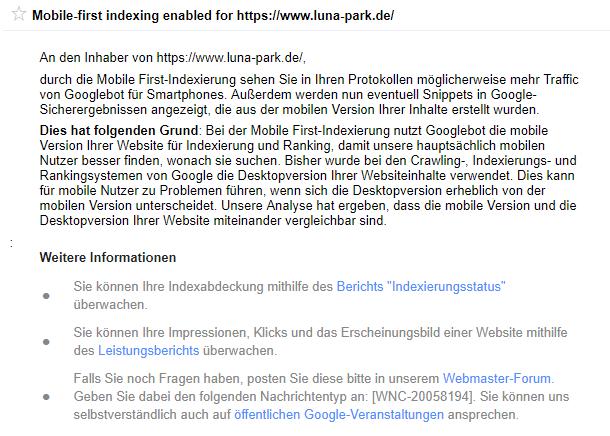 Hinweis in der Google Search Console, dass für eine Website die Mobile First Indexierung ausgerollt ist