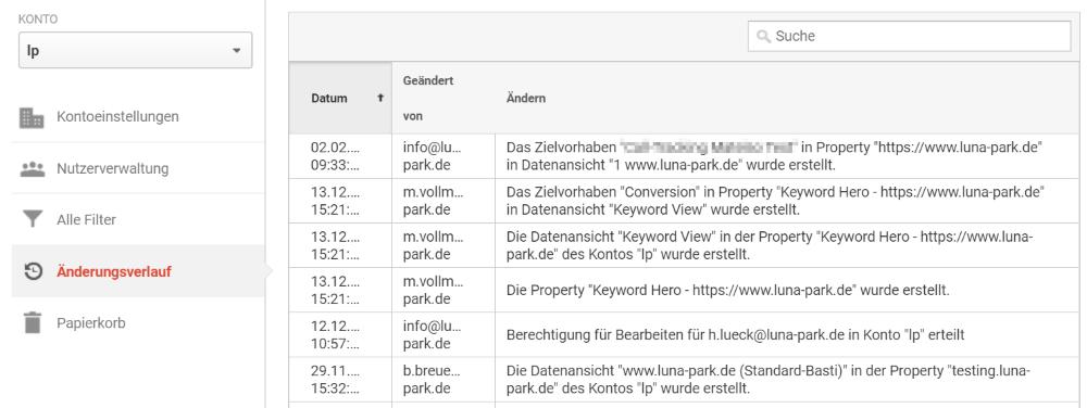 Änderungsverlauf in Google Analytics