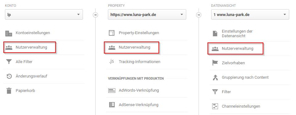 Nutzer könnt ihr auf Konto-Ebene, Property-Ebene und Datenansichtsebene verwalten