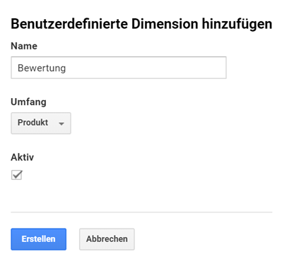 Custom Dimension: Bewertung