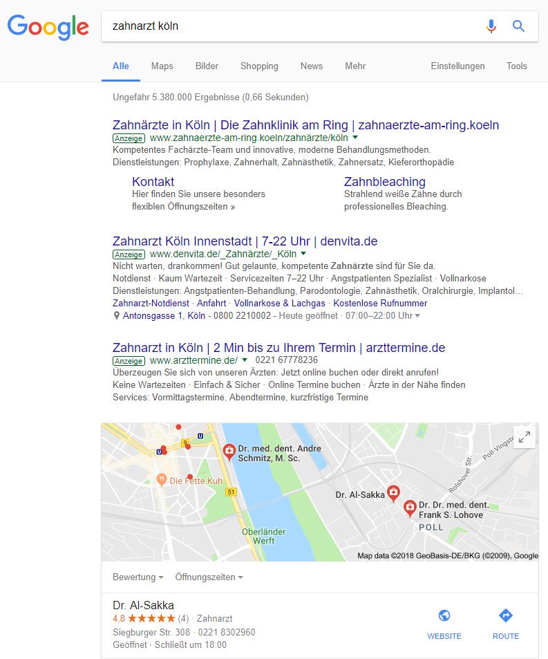 Suchergebnis mit lokalem Bezug