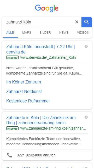 Mobiles Suchergebnis mit lokalem Bezug