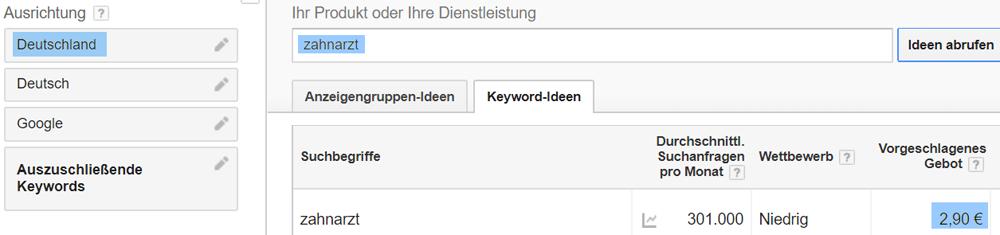 """Vorgeschlagenes Keyword-Gebot im Keyword Planer für """"Zahnarzt"""" in Deutschland"""