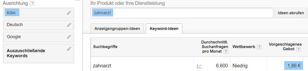 """Vorgeschlagenes Keyword-Gebot im Keyword Planer für """"Zahnarzt"""" in Köln"""