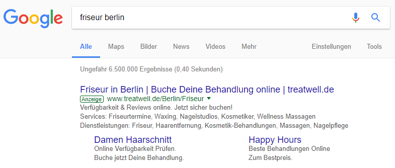 """Beispiel: Suchanfrage """"Friseur Berlin"""" am 26.01.2018"""