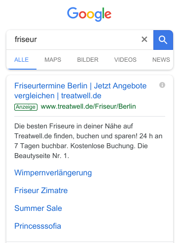 """Beispiel: Regionale Ausrichtung – Mobile Suchanfrage """"Friseur"""" am Standort Berlin"""