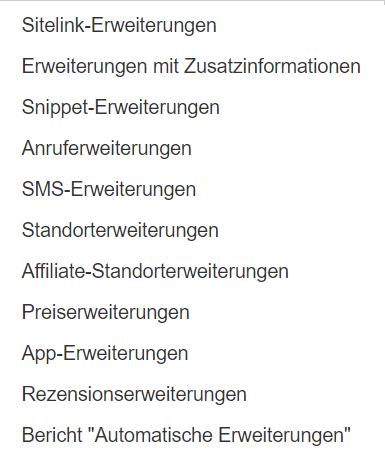 Mögliche Anzeigenerweiterungen in AdWords