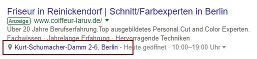 """Beispiel: Suchanfrage """"Friseur Berlin"""" am 22.01.2018"""