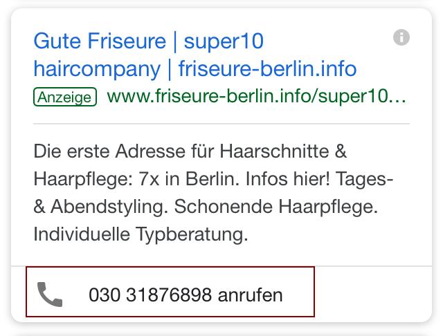 """Beispiel: Mobile Suchanfrage """"Friseur Berlin"""" am 22.01.2018"""