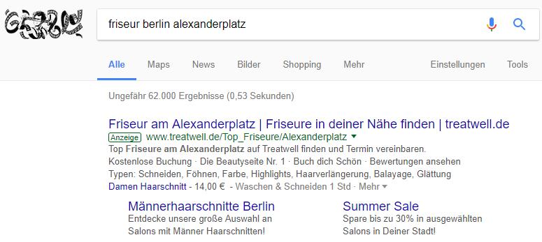 """Beispiel: Suchanfrage """"Friseur Berlin Alexanderplatz"""" am 22.01.2018"""