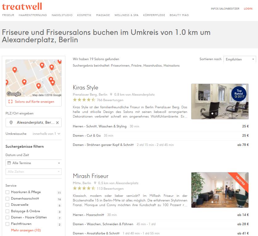 Beispiel: Landingpage Treatwell – Friseur Berlin Alexanderplatz