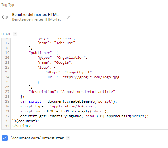Benutzerdefinierter HTML-Tag im Google Tag Manager
