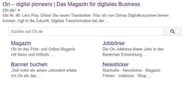 Search Box in den SERPs