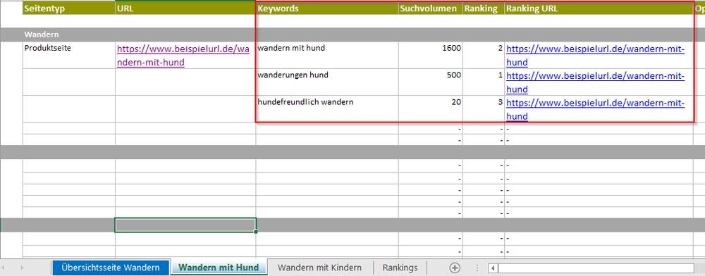 Schaut euch an, welche URLs bereits zu den ausgewählten Keywords ranken