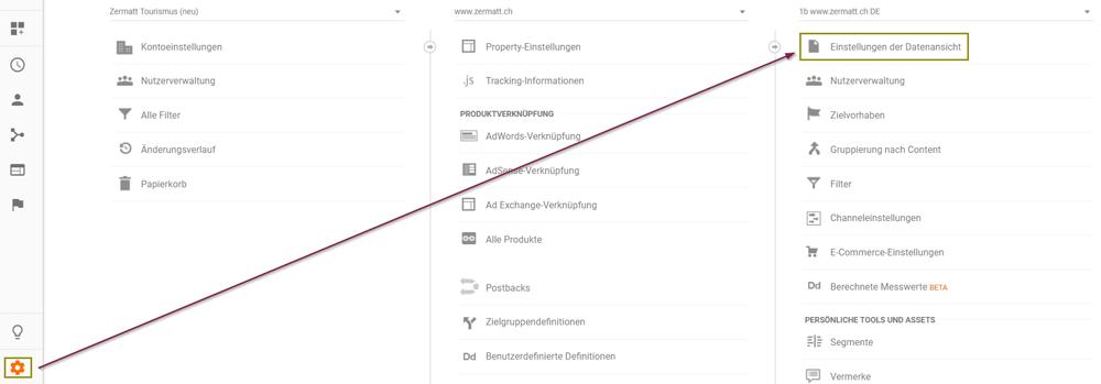 Das Tracking der Site Search in Google Analytics kann bei den Datenansichtseinstellungen aktiviert werden.