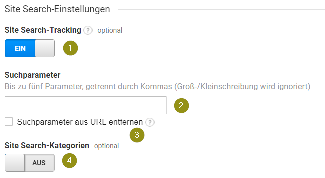 Site Search-Einstellungen in Google Analytics