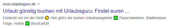 Snippet mit Emojis in der Description