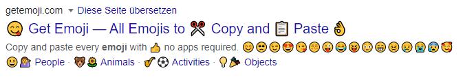 Snippet mit sehr vielen Emojis in der Description