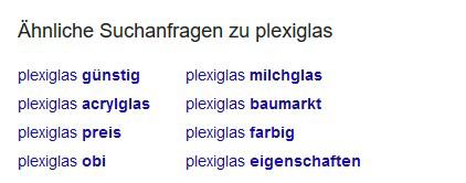Beispiel Suchanfrage zu plexiglas
