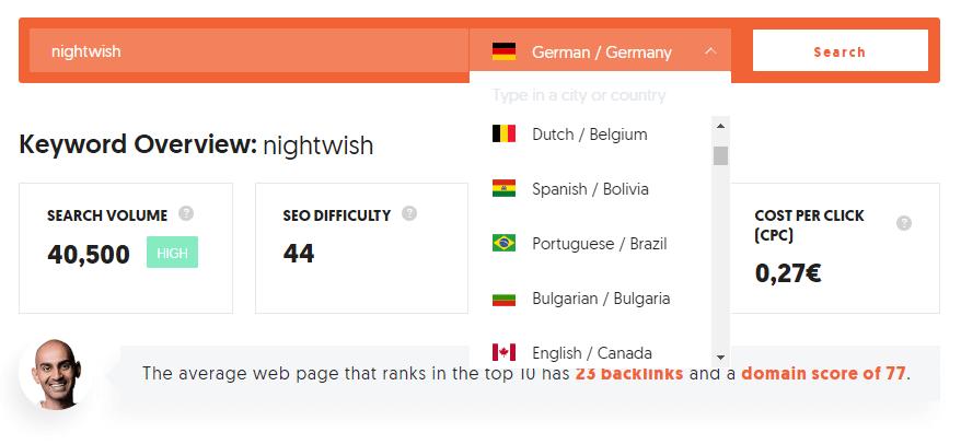 Ubersuggest ist in vielen Sprachen verfügbar