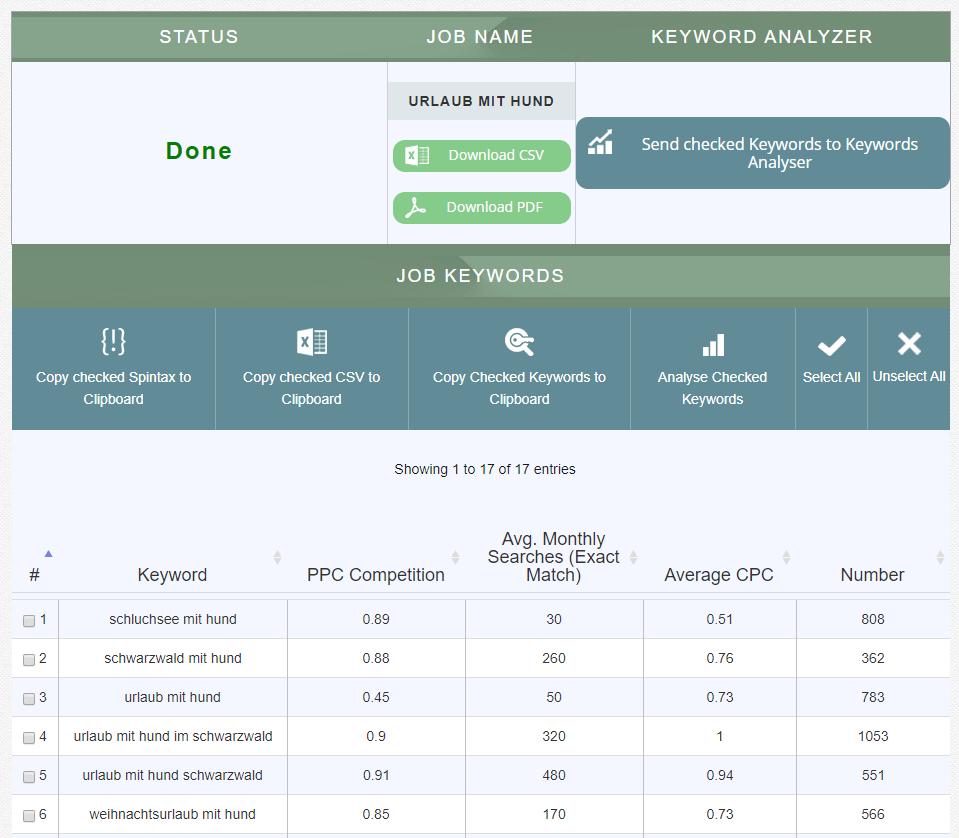 TermExplorer: Keyword Tool für Keyword Analysen