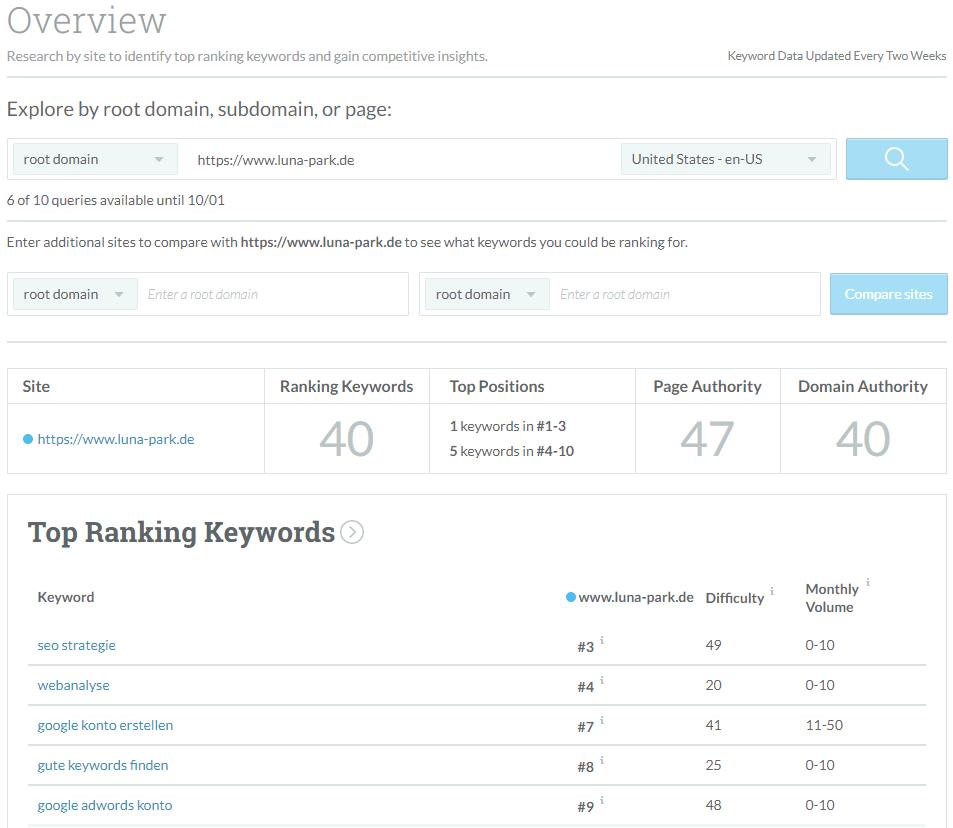 Weitere Keyword Recherche anhand einer Domain, Subdomain oder exakten Seite mit Moz Keyword Explorer
