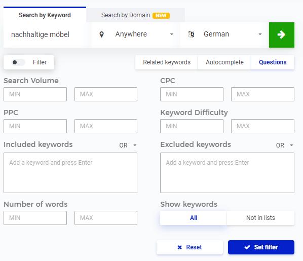 Ergebnisse können beim Keyword Finder mit Hilfe von Filtern spezifiziert werden