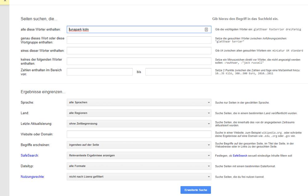 Googles erweiterte Suche
