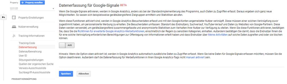 Datenerfassung nach Umstellung auf Google Signals und anschließender Deaktivierung